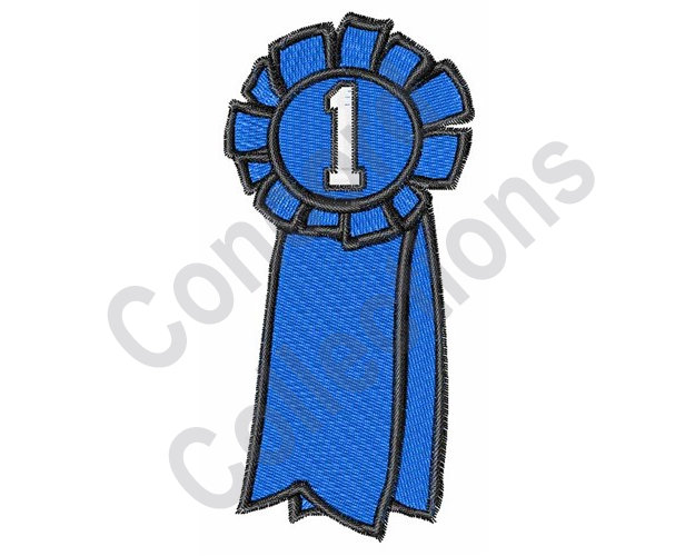 625x500 First Place Machine Embroidery Design Blue Ribbon Etsy