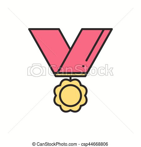 450x470 Gold Medal Award With Ribbon Winner Line Thn First