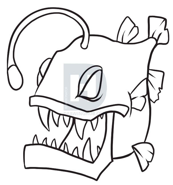 605x647 Angler Fish Drawing Angler Fish Drawing Color In Your Fish And You