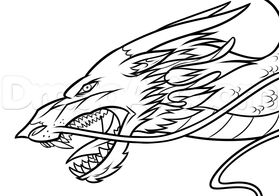 1100x775 Drawing A Chinese Dragon Head, Step