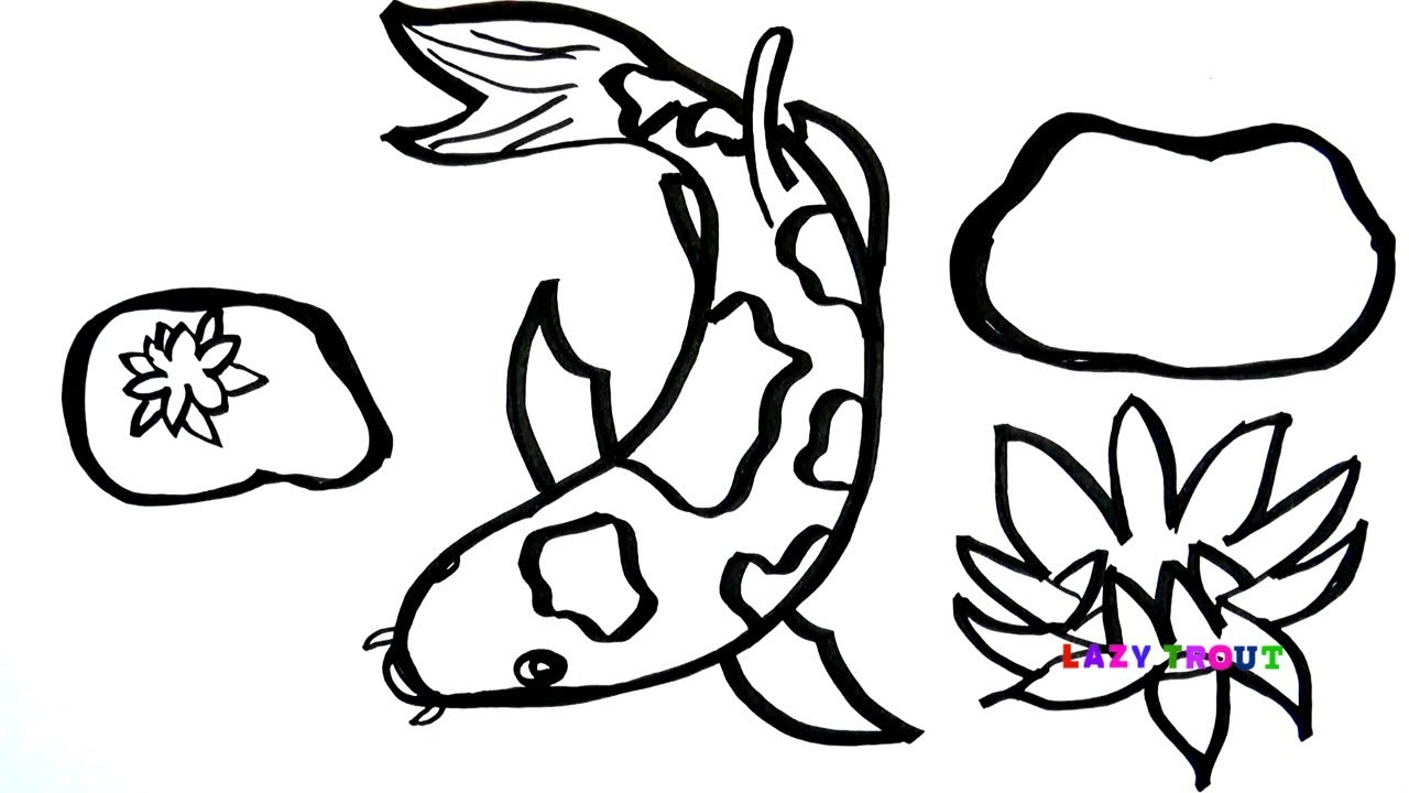 1280x720 Cute Koi Fish In The Pond Drawing For Kids Lazy Trout Painting