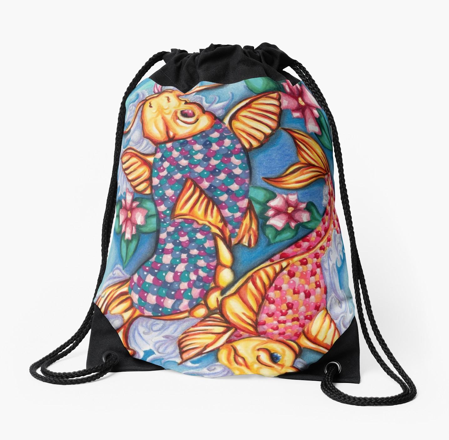 1435x1404 Koi Fish Jellybean Pond Drawing Drawstring Bag