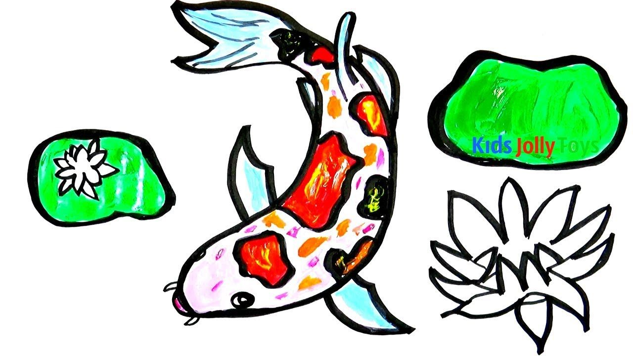 1280x720 Koi Fish In The Pond Drawing For Fun Kids Jolly Toys Painting