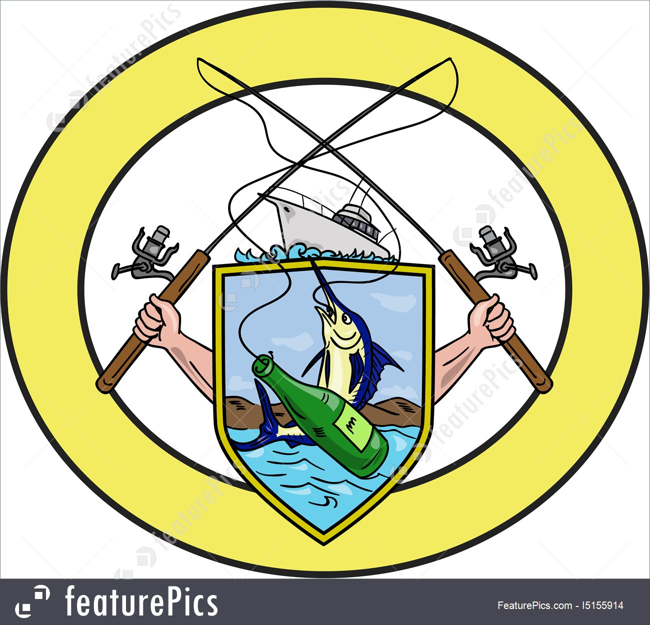 1300x1250 Fishing Rod Reel Blue Marlin Beer Bottle Coat Of Arms Oval Drawing