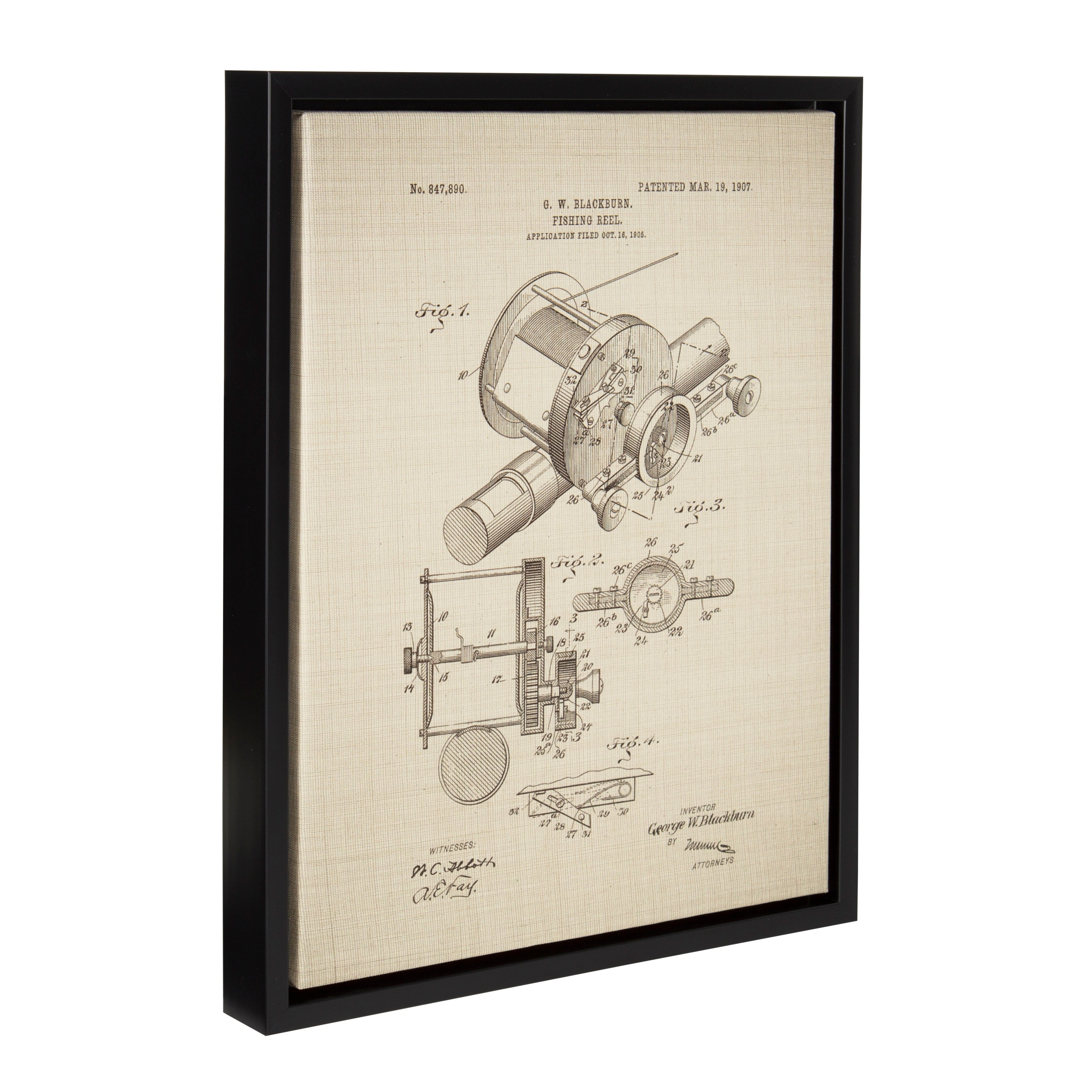 3500x3500 Shop Kate And Laurel Sylvie Fishing Reel Patent Framed Canvas Wall
