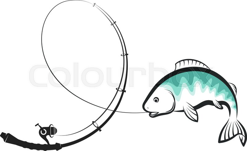 800x488 Fishing Rod Fish Trout Hook Stock Vector Colourbox