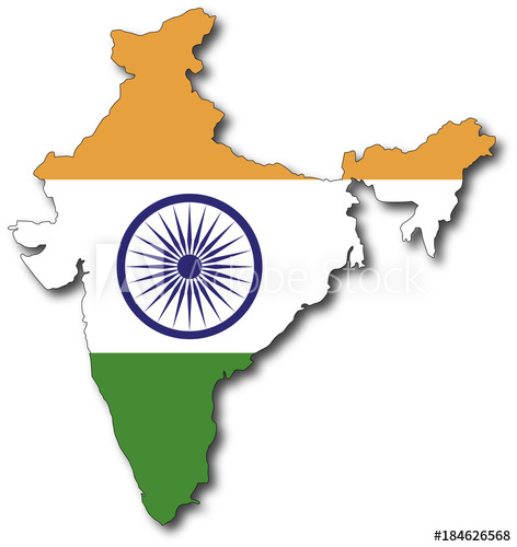472x500 Vector Flag Map Of India, Outline Drawing With Shadow