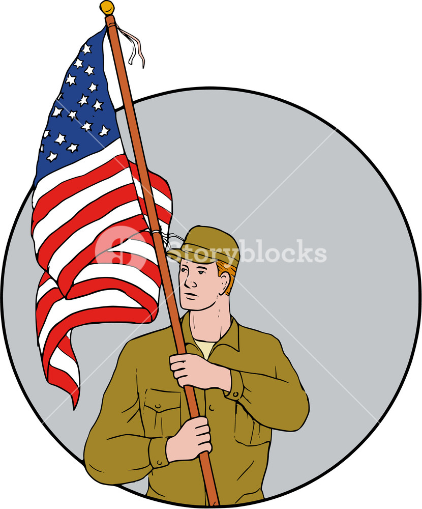 830x1000 Drawing Sketch Style Illustration Of An American Soldier