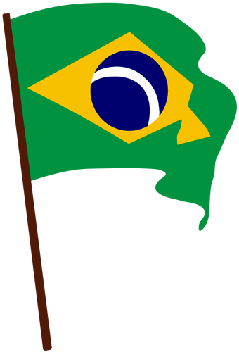 340x500 Flag Of Brazil On Pole Vector Drawing