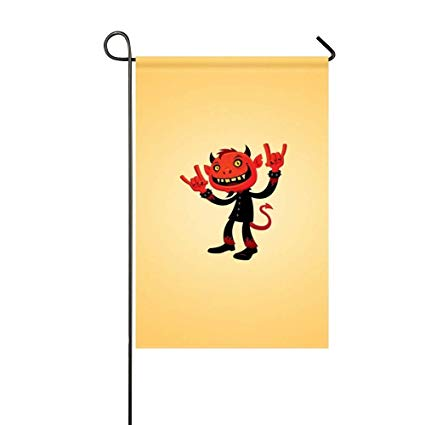 425x425 Mjg Garden Flag Devil Drawing Red Inches