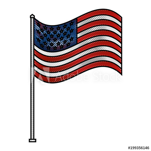 500x500 Unites State Of America Waving On Flagpole Vector Illustration