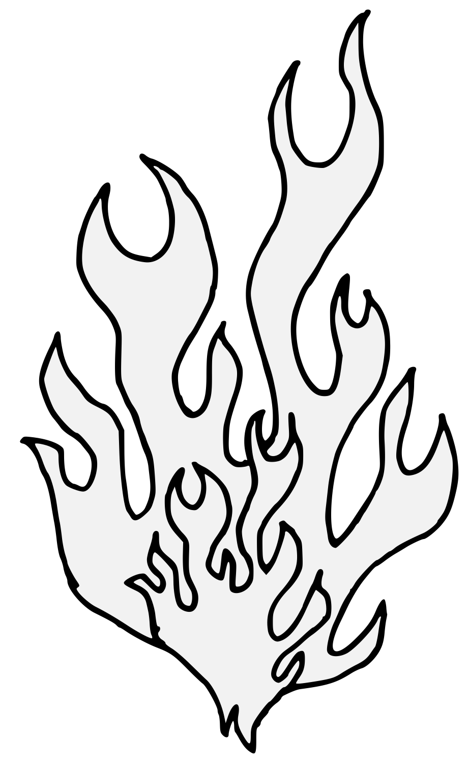 Flames Outline Drawing | Free download best Flames Outline