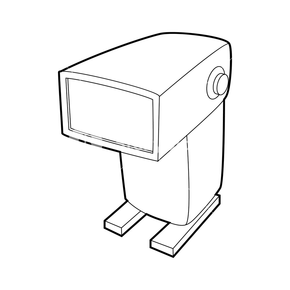 1000x1000 External Flash Camera Icon In Outline Style Isolated On White