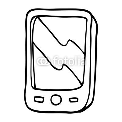 400x400 Line Drawing Cartoon Mobile Phone Buy Photos Ap Images