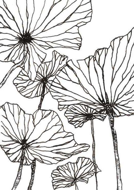 570x806 Digital Floral Print, Flower Wall Art, Botanical Prints, Plant