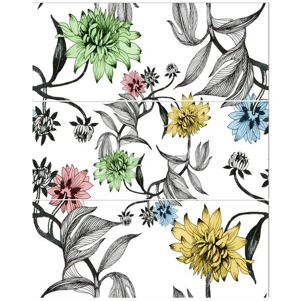 600x600 East Urban Home 'hand Drawn Summer Flowers' Drawing Print Multi