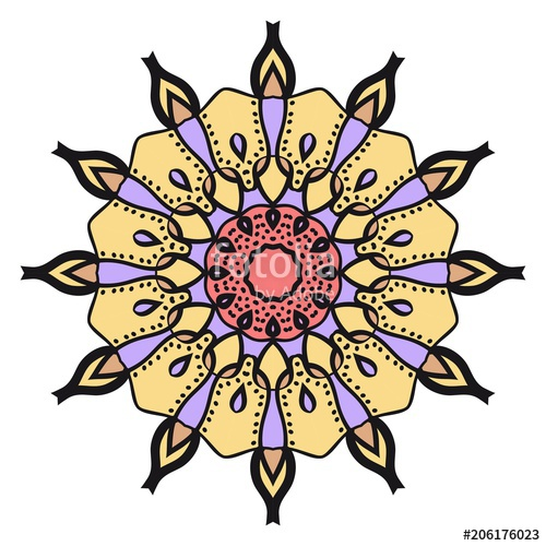 500x500 Floral Geometric Pattern With Hand Drawing Mandala Vector