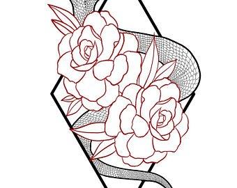 340x270 Floral Print Snake Etsy