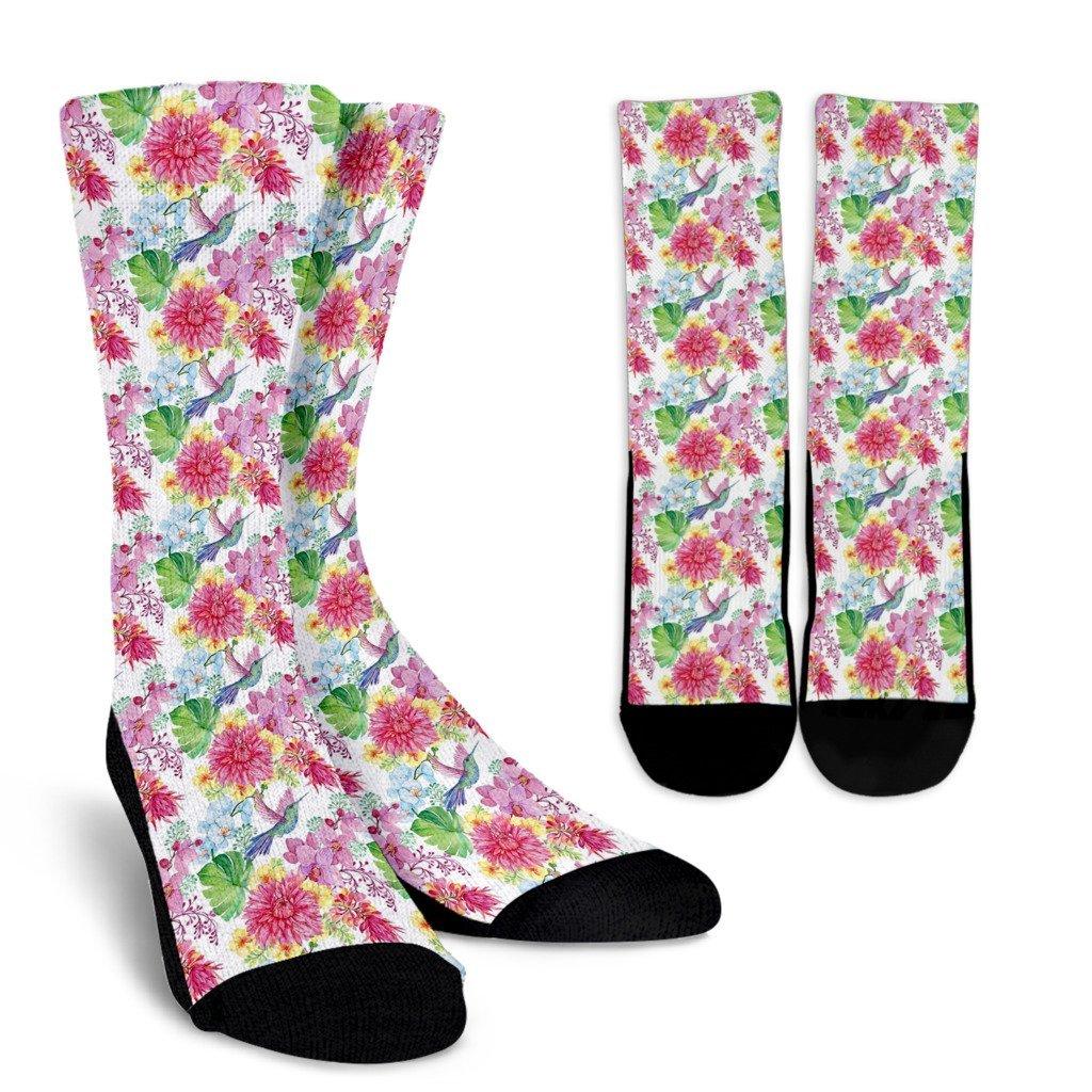 1024x1024 Hummingbird White Floral Drawing Pattern Print Unisex Crew Socks
