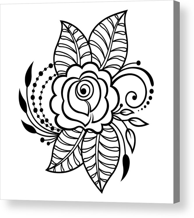666x750 Mehndi Rosa Flower Pattern For Henna Drawing And Tattoo