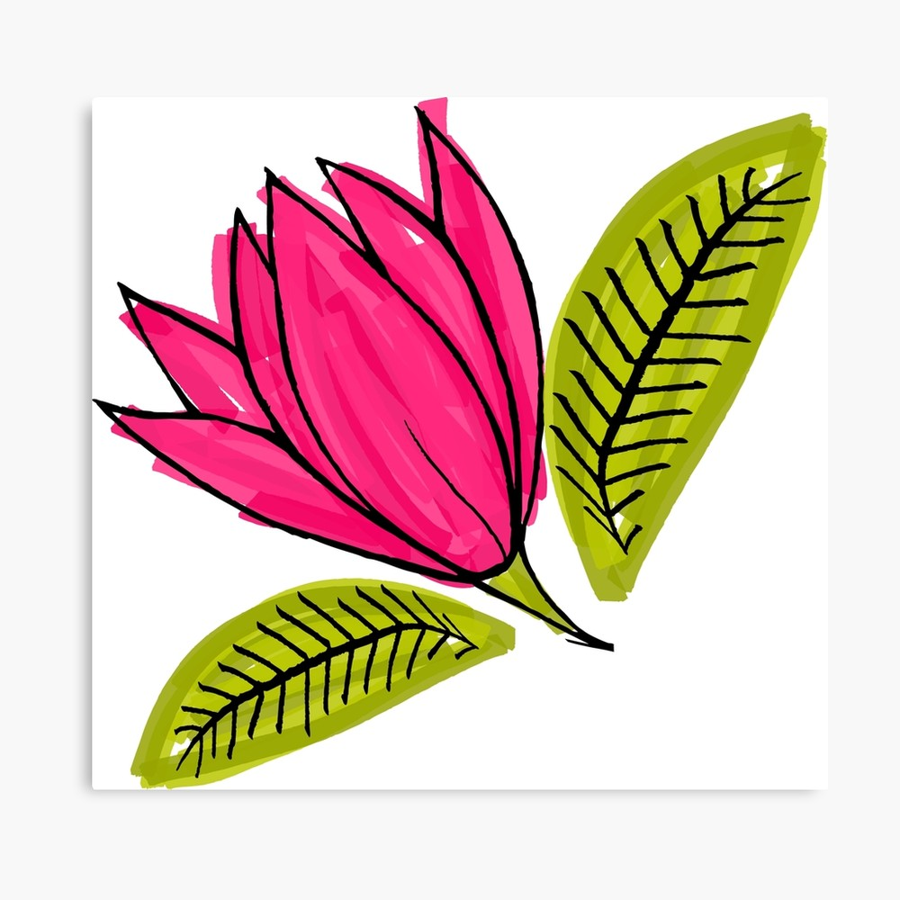 1000x1000 Pink Flower Rough Drawing With Marker Canvas Print