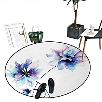 355x355 Watercolor Flower Print Area Rug Flower Drawing Soft