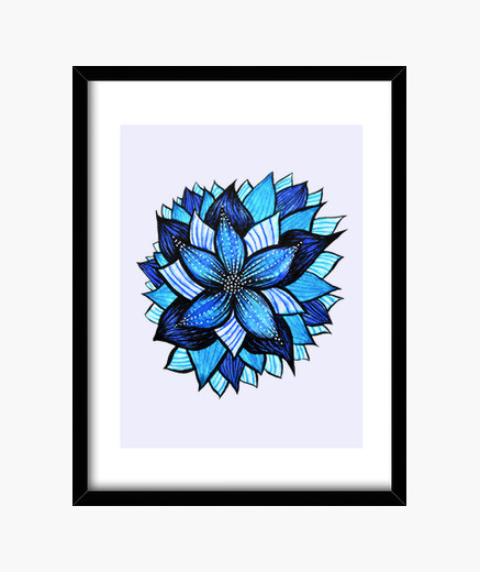 437x520 Abstract Blue Flower Ink Drawing Framed Print