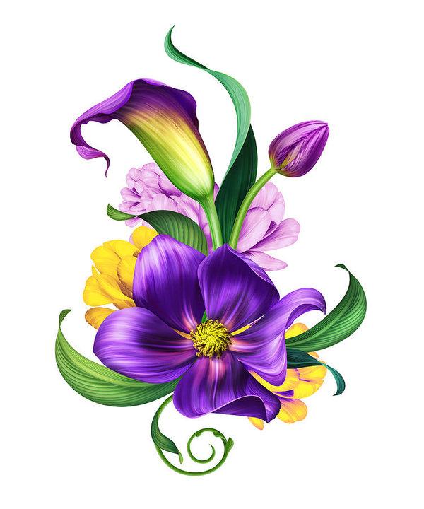 600x720 Botanical Illustration, Beautiful Flowers Bouquet, Floral