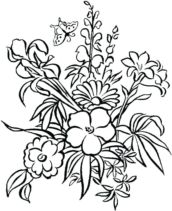 585x720 Coloring Pages Of Flowers Coloring Pages Of Flowers Flower Print