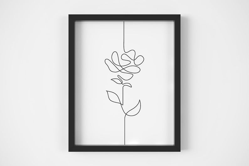 794x529 Continuous Line Art Floral Line Drawing Black And White Etsy