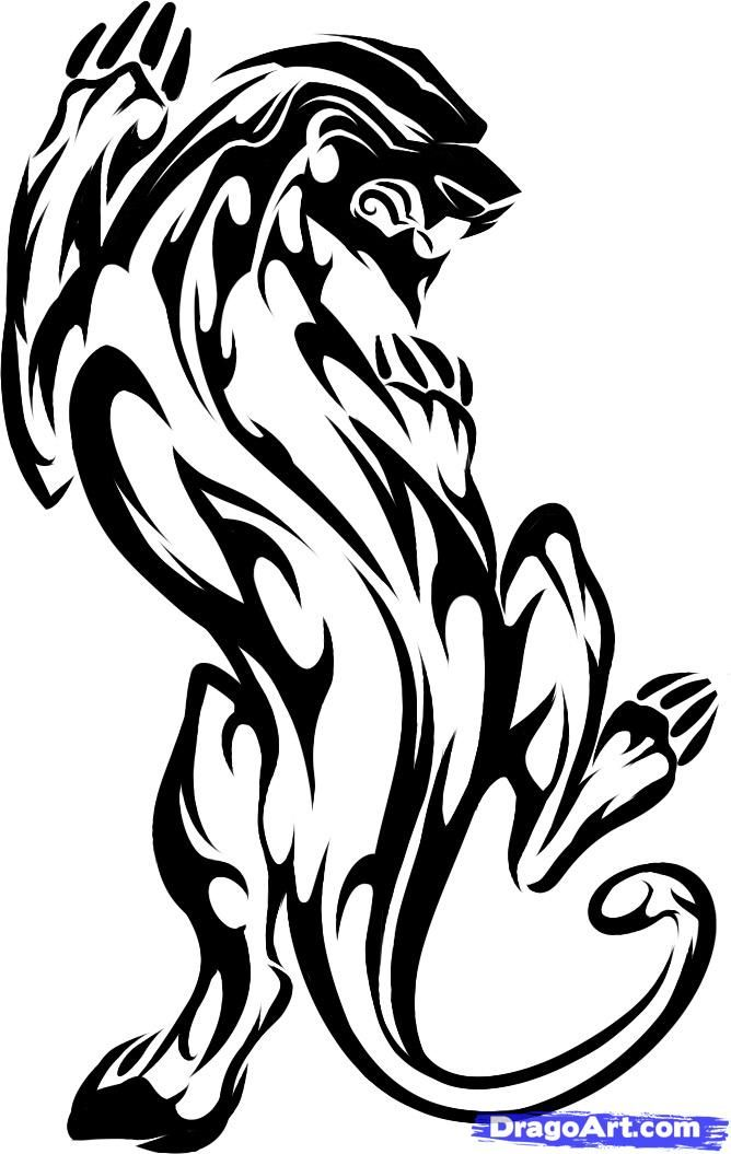 668x1055 Panther Drawing Tribal For Free Download