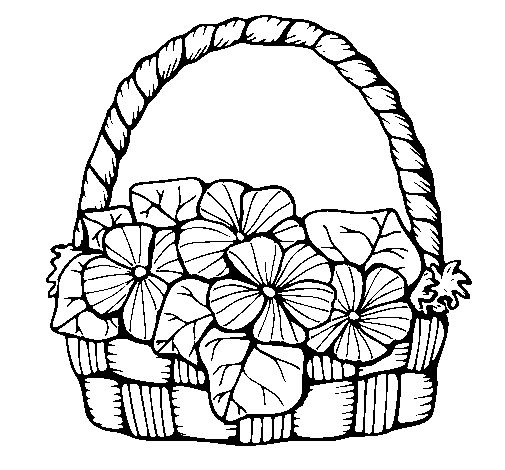 505x470 Drawing Of Basket Of Flowers Clip Art