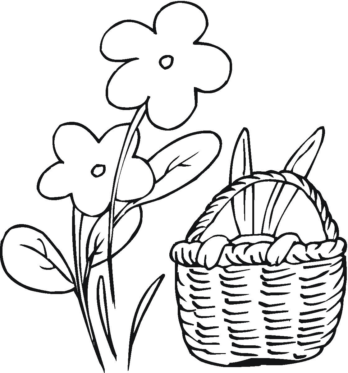 1120x1200 Easter Bunny Coloring Pages North Texas Kids And Flower Basket