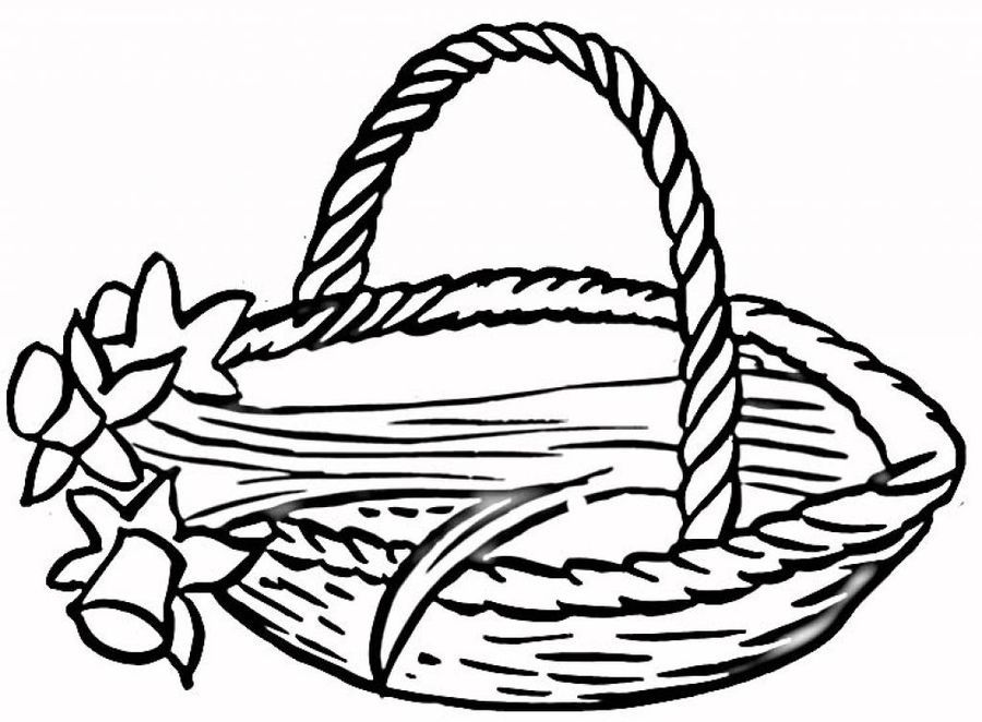900x662 Basket Of Flowers Clipart Black And White