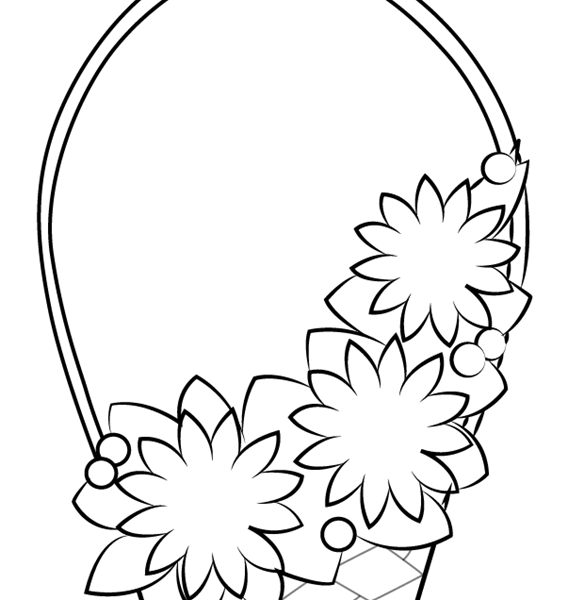 567x600 Flower Drawing For Kids Learn How To Draw Flowers Basket For Kids
