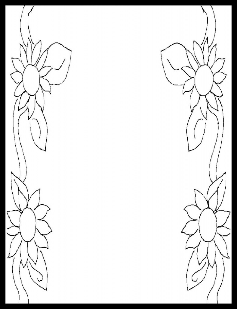 788x1024 Drawing Flower Simple Border