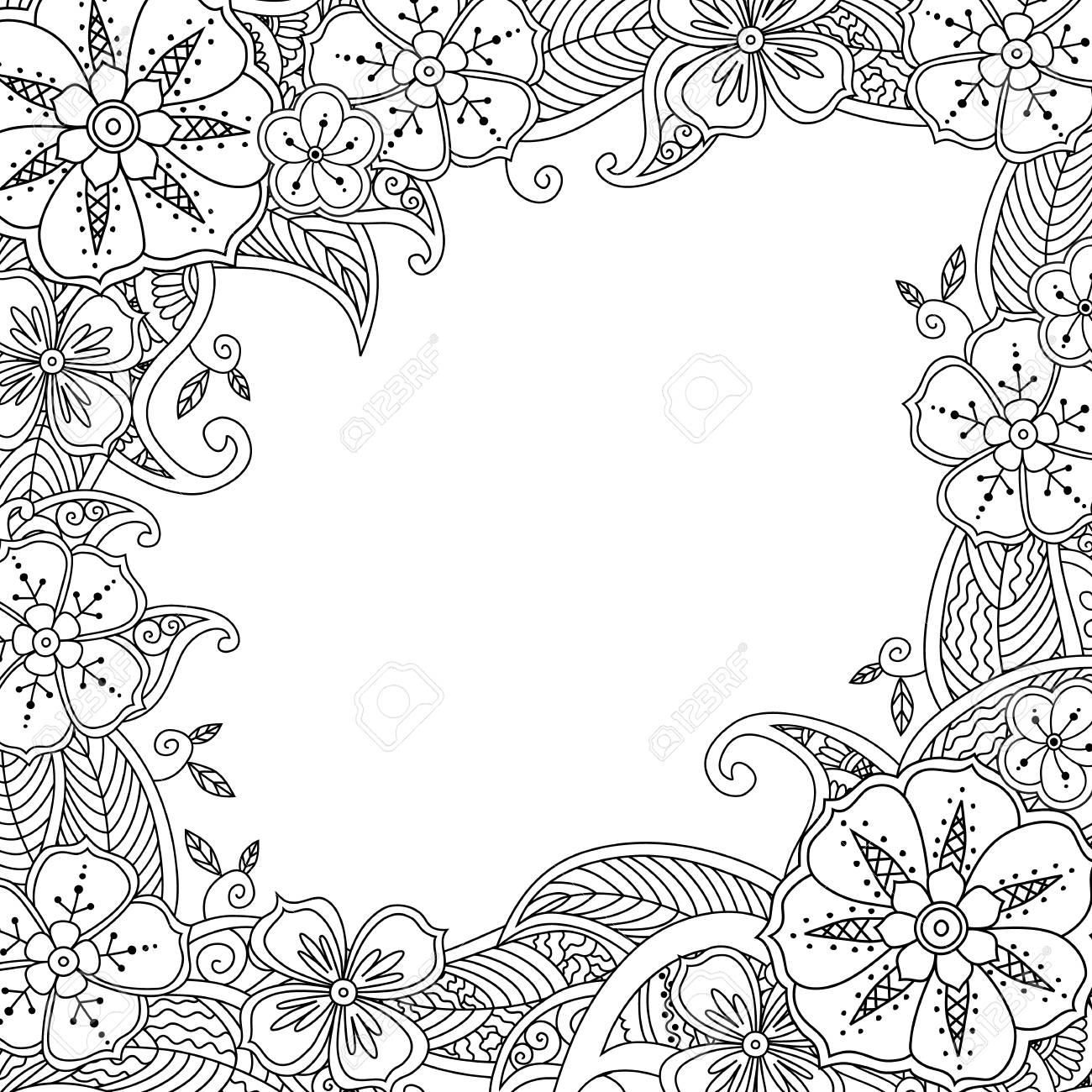 1300x1300 Beautifull Coloring Flower Border Image Coloring Pages