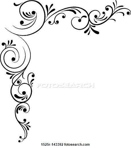 461x520 Beautiful Flower Border Black And White