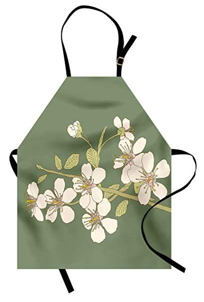 409x606 Lunarable Green Oriental Apron, Romantic Sakura Flower