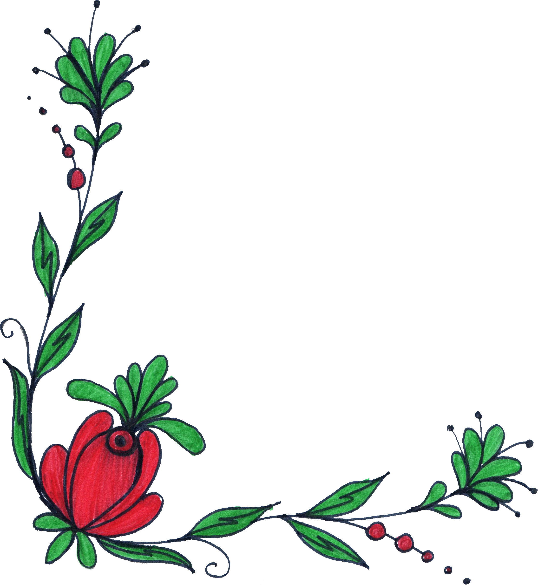 2234x2426 Huge Collection Of 'corner Flower Drawing' Download More Than