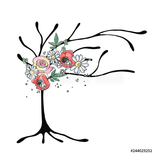 500x500 Vector Hand Drawn Graphic Illustration Of Tree With Flowers