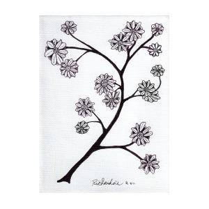 300x300 Zen Sumi Flower Branch Black Ink On White Canvas Ricardos Mixed