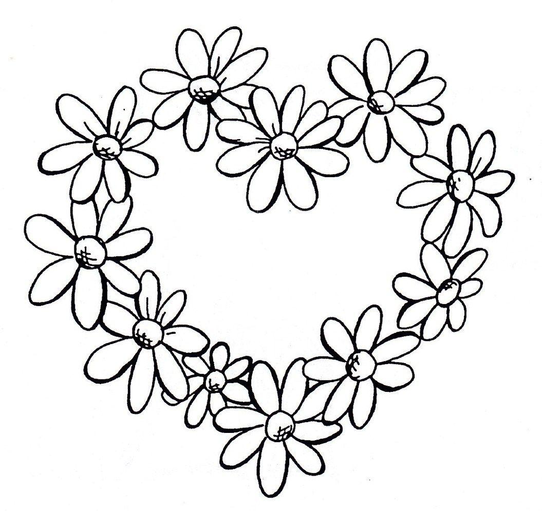 1055x995 daisy heart border pyrograpghy small daisy tattoo, daisy