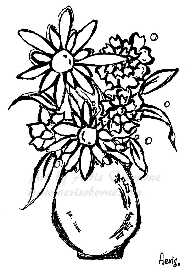 794x1133 Daisy Flowers Vase Printable Adult Coloring