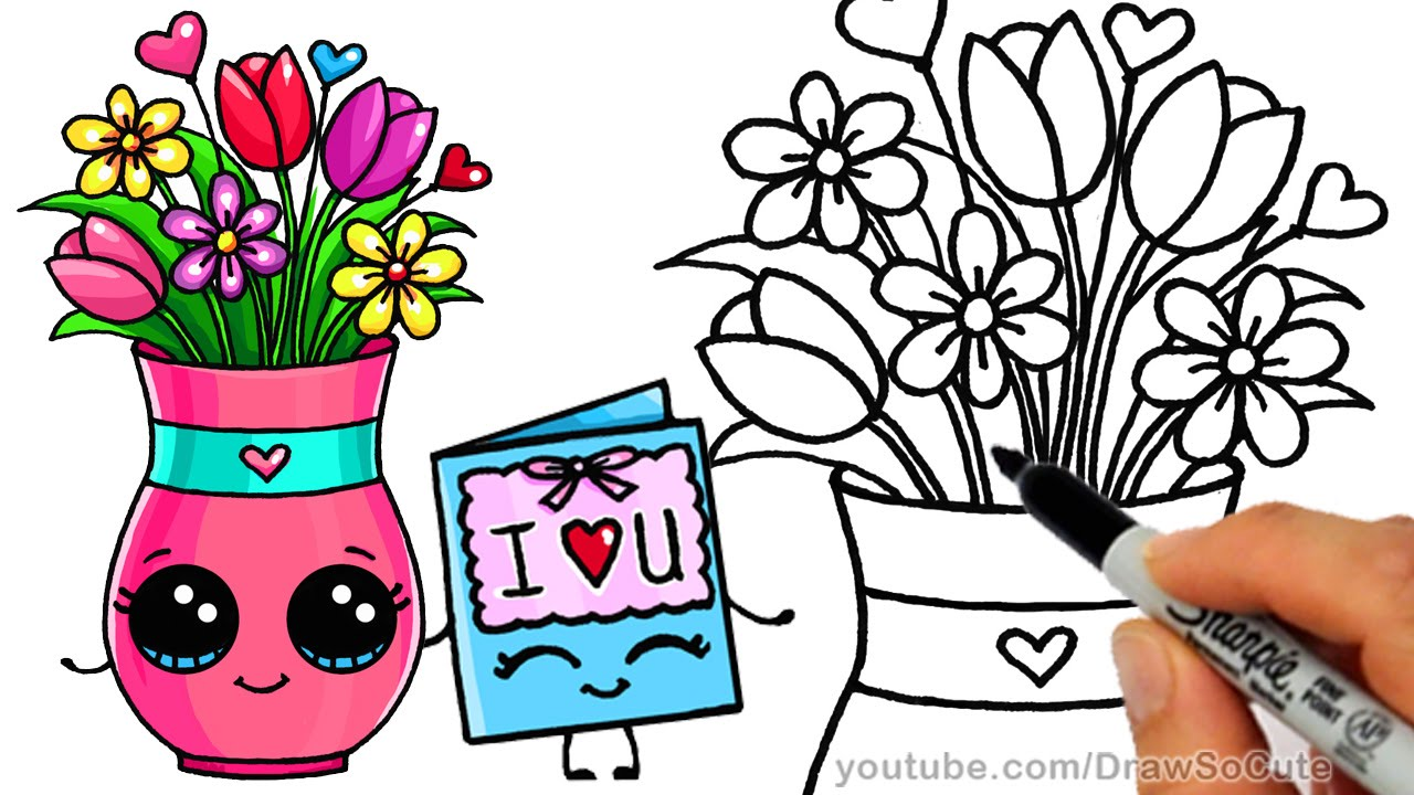 1280x720 How To Draw Cartoon Flowers With Vase Easy Kids Youtube