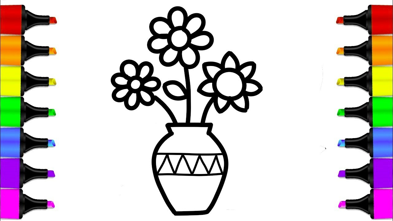 1280x720 How To Draw A Flower Vase Coloring Book For Kids