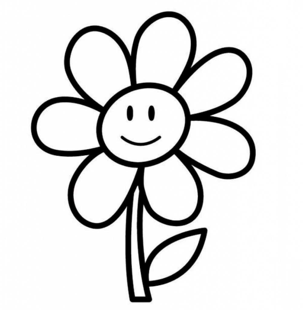 1001x1024 Simple Drawing For Kids Flowers