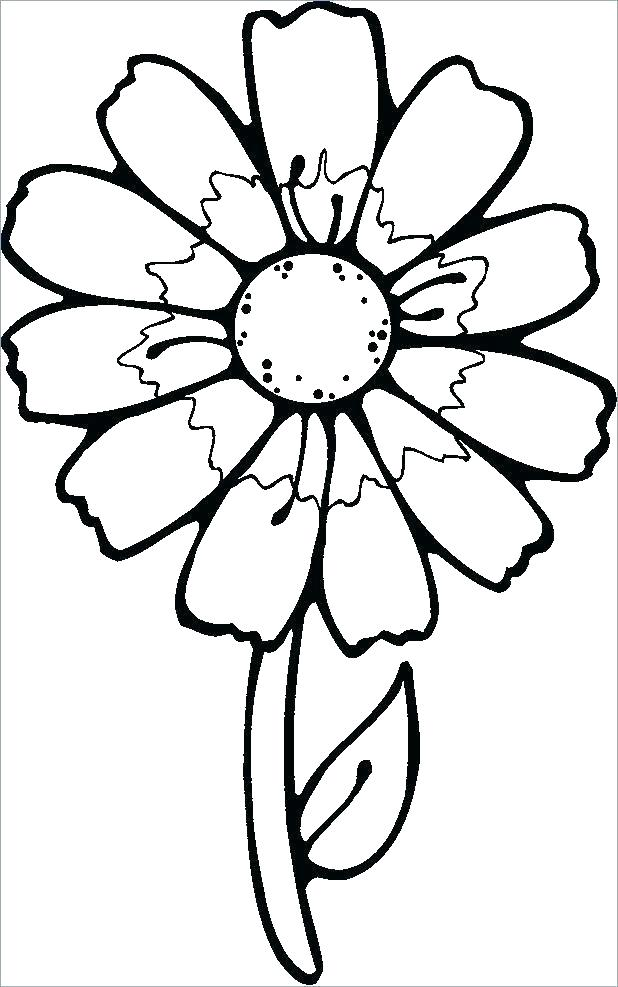 618x987 Simple Flower Color Pages Simple Flowers Coloring Pages Flower