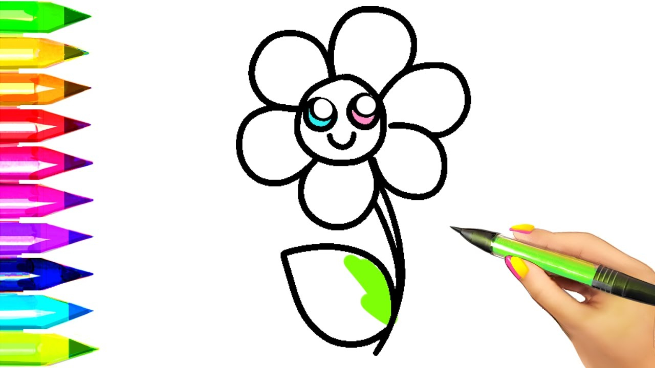 1280x720 Simple Flower Drawing Step