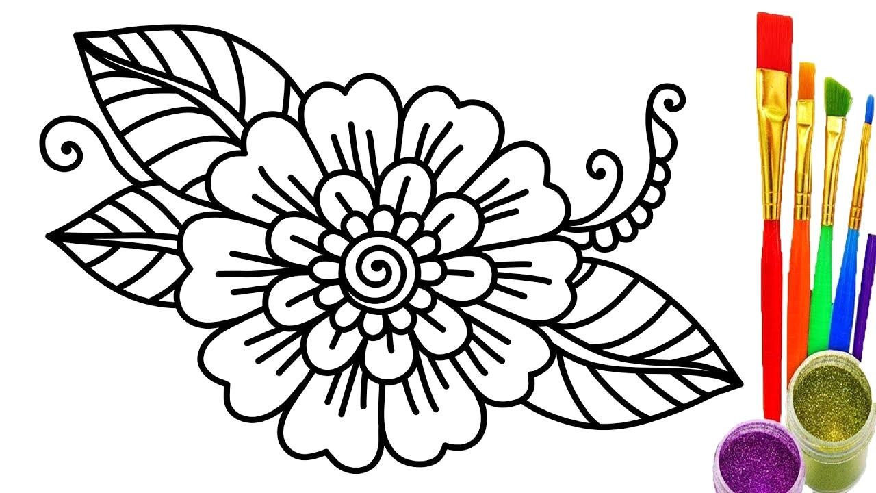 1280x720 Colorful Flower Coloring Pictures How To Draw Pages For Kids Learn